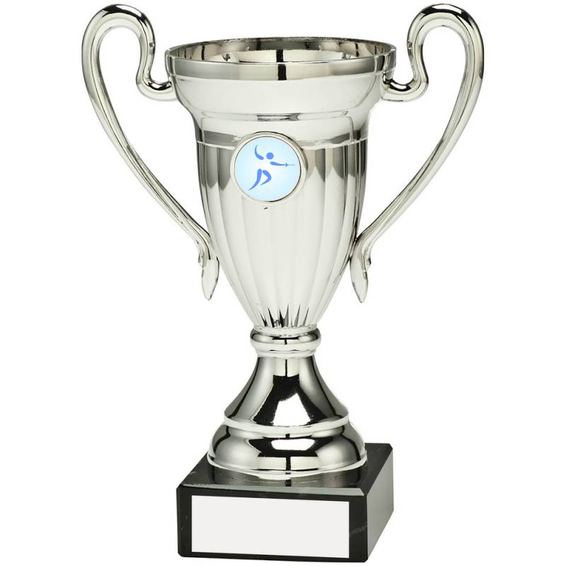 Silver plastic handled trophy fencing cup with marble base and space for personalised logo