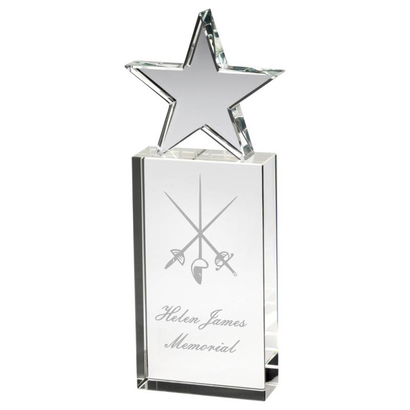 Clear Star Glass Premium Fencing Trophy award with space for text and logo engraving