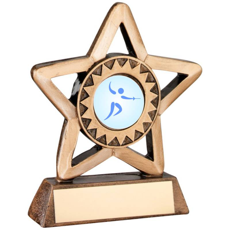 Resin Star Fencing Trophy award with space for engraving and personalised logo