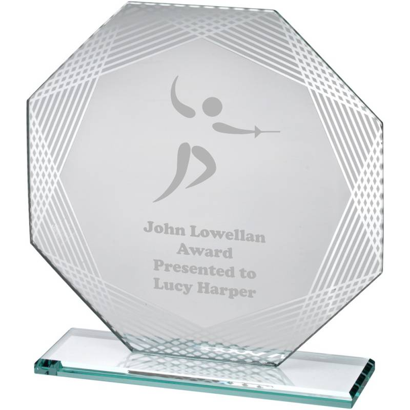 Jade Glass Fencing Trophy award with silver decorative edges and space for text and logo engraving