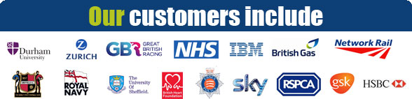 View some of our customers including HSBC, Durham University, Next, Samsung and the NHS!